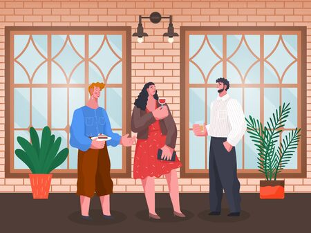 Smiling man and woman standing with cup of beverage and cake indoor. Home reception of people friends speaking and drinking near big windows and plant. Toast of male and female in hall vector