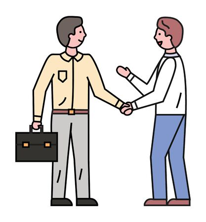 Worker shaking hands produce deal isolated on white. Men cartoon characters with outline discussing and handshaking sign. Employees colleagues in suit collaboration for business success vector