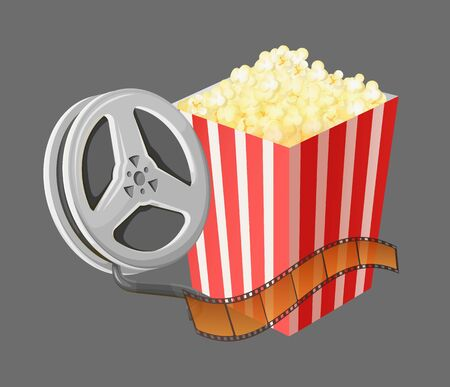 Popcorn and camera with recorded material for movies vector, filmmaking and watching films on weekends. Cinematography industry, bobbin and snack set Banco de Imagens - 142369495