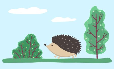 Small hedgehog walking on grass in lawn or wood. Wild animal with prickly coat, needles. Cute cartoon character stroll in forest. Countryside nature with spruces and trees. Vector illustration in flat