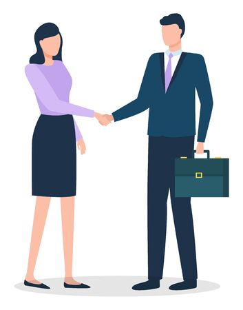 Businessman and businesswoman do handshaking about deal. Man and woman stand together, people isolated on white. Meeting of managers for agreement about business. Vector illustration in flat style
