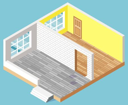 Empty flat, apartment rooms interior without furniture. Isometric view concept plan or project living home with door and windows 3D vector illustration
