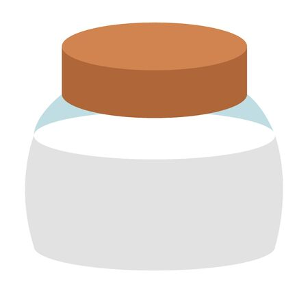 Salt shaker or container for spice or sugar storage, isolated icon. Glass jar with lid, kitchenware with ingredients for cooking dishes. Natural ingredients in pot with cap, vector in flat style