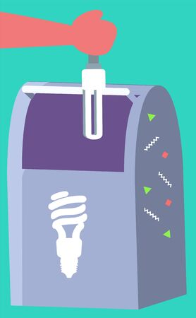 Right distribution for trash. Smart sorting, processing and recycling. Container for garbage to recycle glass and lamps vector illustration in flat style
