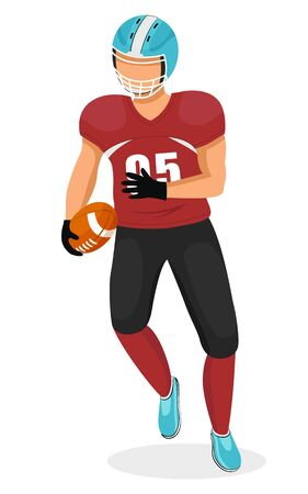 Man playing gridiron game running with ball in hands. Athlete or college student playing american football. Male personage, strong team player participating in competition. Vector in flat style