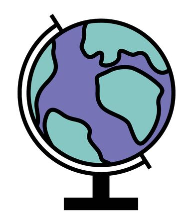 Simple globe, spherical model of earth to study geography. Round shaped icon of volumetric map. All continents showed on sphere, Europe and Africa, Asia and America. Vector illustration in flat style