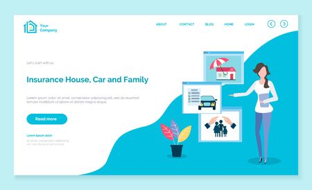 Insurance company agent pointing on house car and family security and safety. Insured property, protection of home and close people. Advisor on website or webpage template, landing page vector