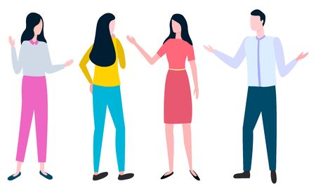 People arguing how to write business plan. Vector cartoon style man and woman discussing business issues, back and front view of successful managers