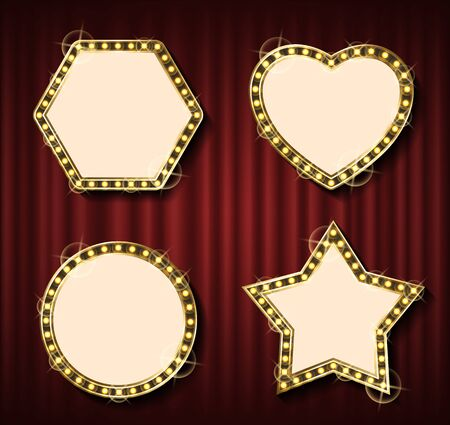 Theater curtain backdrop and blank frame with lamps. Round framework, concert or show banner template, evening event, light framing and textile. Geometrical glowing frame set on red curtain background Illusztráció