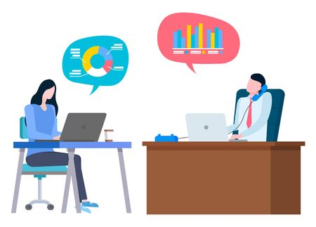 Financial consultant or bank workers, brokers cooperation, trade and sales. Vector cartoon people sitting at table and typing on laptop, graphs and charts