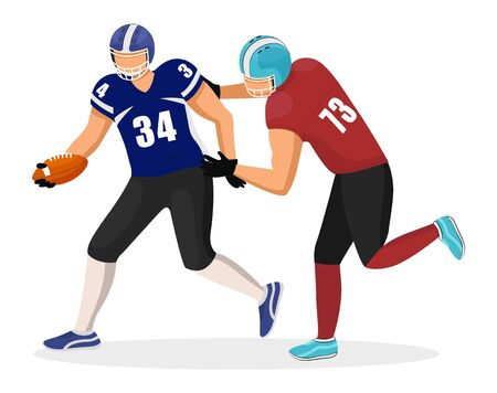 Footballers from different teams play in american football. Player in red uniform try to intercept ball from opponent. Rivalry of competition. Vector illustration of match on stadium in flat style