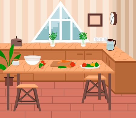 Cozy kitchen interior, furnishing for room. Wooden table . Desk with plates and products on it. Fresh vegetables as peppers and carrot on surface. Vector illustration of cooking process in flat style