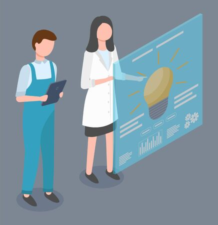 Woman and man stand near screen or board with information. People working on factory as engineers or technologists. Lad and guy look at data and explore it. Vector illustration of development in flat