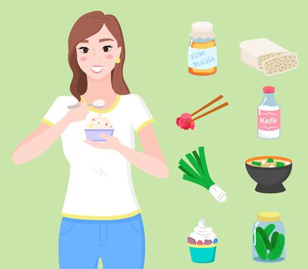 Set of dishes and ingredients full of probiotics. Organic meals and healthy lifestyle. Woman eating yogurt. Collection of kimchi, kombucha and tempeh, miso soup and pickled cucumbers, vector Çizim
