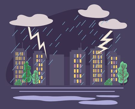 Bad weather conditions in city with skyscrapers and trees. Rainfall and thunderbolts with thick clouds and raindrops. Spring or summer climate in town. Cityscape with dramatic scenery vector