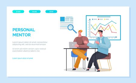 Personal business man for starting businessman. Data analysis and statistics making report skills development. Coach and student. Infocharts on boards. Website or webpage template, landing page vector
