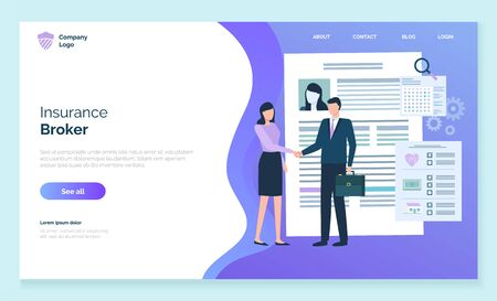 Insurance broker on meeting with client. Female character handshaking with male wearing formal clothes. People discussing property contract problems. Website or webpage template, landing page vector Ilustração