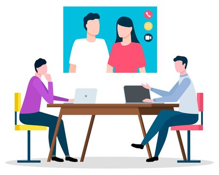 Online communication with couple. Isolated characters of consulting company talking to man and woman using internet and video connection. Workers with laptops in office, vector in flat style Stock Illustratie