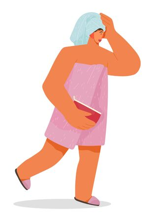 Woman in hurry running from bathroom. Female character wrapped in towel late for work. Lady holding bag with cosmetics. Girl with wet hair rushing from shower. Vector in flat style illustration Ilustración de vector