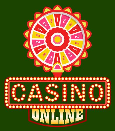 Casino online vector, shining signboard with retro bulbs flat style. Fortune wheel with spinning circle and money sum, gaming and gambling on dollars. Playing games and trying luck entertaining