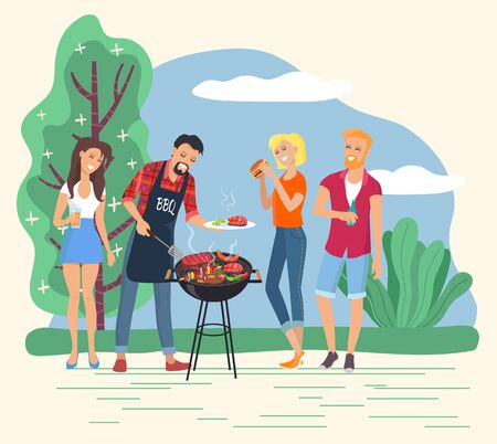 People grilling meet and steaks outdoors. Man cooking burgers for friends. Character on weekend in park or forest with greenery. Couples on picnic. Company of personages outside, vector in flat Stock Illustratie
