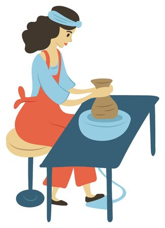 Woman on pastime vector, isolated female sitting by spinning table. Pots made of clay lady at home wearing apron, product handmade production flat style