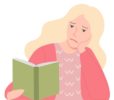 Sad girl reading book, pensive woman with open literature. Blonde female thinking, leisure symbol, education element, hardcover icon, hobby vector Illusztráció