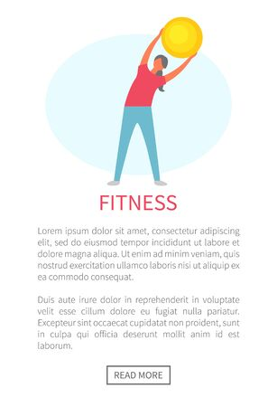 Woman holding fitness ball vector, female wearing sportswear improving flexibility. Slim lady doing exercises for healthy lifestyle, athlete with bauble. Training banner