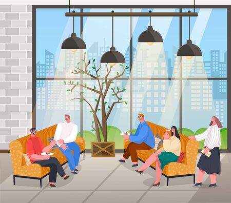 People talking at home reception with drinks and desserts. Friends spending time together sitting on sofas and speaking. Loft interior with big windows and urban view through it. Vector illustration