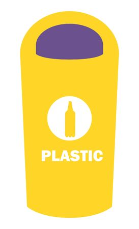 Dustbin for plastic vector, flat style container for throwing rubbish. Sorting litter and recycling disposal, bottle image sign for refuse collection, ecological concern