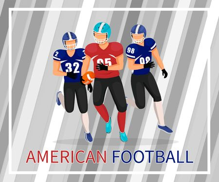 Gridiron players running after man with ball in hands. American football game or match. People competing in competition. Young college team training and practicing skills. Vector in flat style