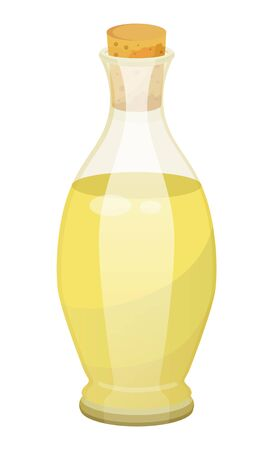 Glass bottle closed with bung with golden liquid inside. Vessel with viscous purified substance used for cooking or hair care. Vegetable, olive or sunflower, oil produced by plant. Vector illustration Ilustração