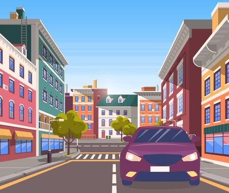 City street with car on it. Modern cityscape with road and pedestrian crossings for citizens, decorative trees and developed infrastructure. Vehicle riding along houses. Vector in isometric 3D style