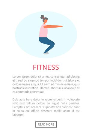 Workout and fitness training, woman doing squats vector. Legs and buttoks muscles pumping, healthy lifestyle and sport exercise, isolated female character Ilustração