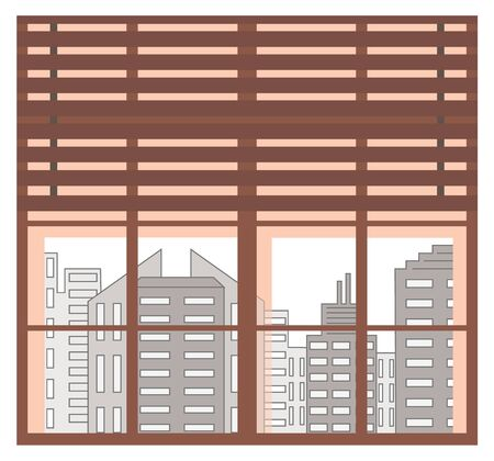 Wide window with wooden planks and clear glass showing view on modern city. Cityscape with skyscraper and high rises of town. Business center with buildings and apartments. Metropolis vector