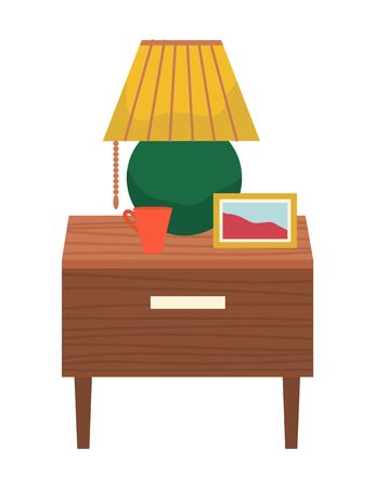Furniture and decor for apartment or house. Bedside table with lamp, frame with photo and mug, coffee cup. Cozy home interior for bedroom. Isolated objects for decor. Vector illustration in flat style Vektorgrafik