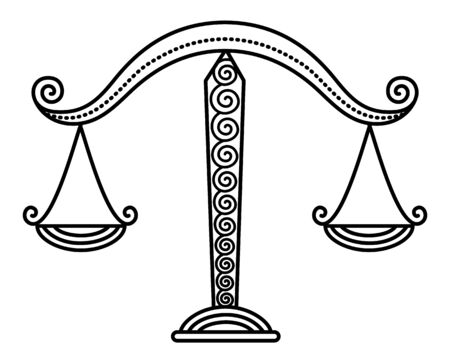 Seventh astrological sign, libra associated with constellation with same name. Zodiac represented by balance scales. Outline drawing on white. Vector illustration of measure tool in flat style