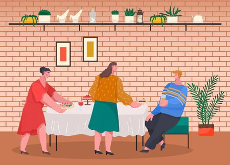Women preparing for dinner or lunch. Home reception for friends and family. Table with food like cake and canapes, drink. Living room interior, decor and houseplants. Vector illustration in flat style