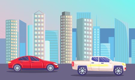 Highway with cars on roads. Futuristic cityscape with vehicles in city. Modern skyline with skyscrapers. Business center in town and automobiles passing district. Urban landscape. Vector in flat style Ilustracja