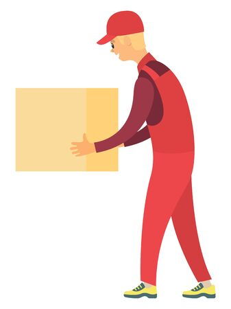 Delivery service worker wearing red uniform carrying cardboard box isolated on white. Carton container, closed parcel, packaging. Moving vector illustration