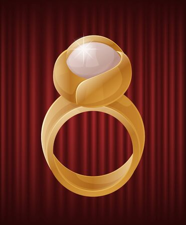 Luxury golden ring with bright white pearl. Elegant and luxurious accessory with nacre stone. Expensive mineral, metallic jewelry. Gift for woman vector