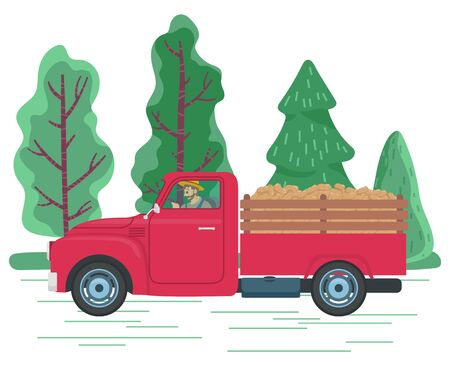 Man driving lorry with potato harvest on road in countryside. Red car ride from farm to town with vegetables on hind carriage. Beautiful landscape with green trees. Vector illustration in flat style Vettoriali