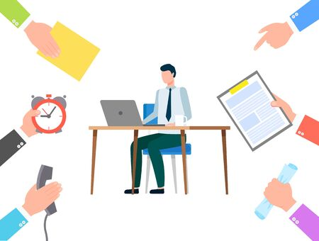 Man sitting by table and typing on laptop. Person work as secretary and doing tasks from people. Manager busy at his workplace, lot of work at office. Vector illustration of working day in flat style