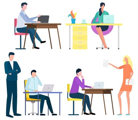 Office workers vector, people with laptops and computer working from home. Secretary and developer, lady boss giving tasks for person employee flat style