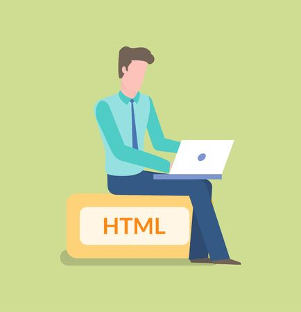 Working coder with laptop vector, person with computer dealing with new application or website development, isolated person on html sign flat style  イラスト・ベクター素材