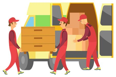 Loaders carrying wooden chest. People moving new house or flat. Men help with relocation. Car with estate in carton boxes for transportation vector