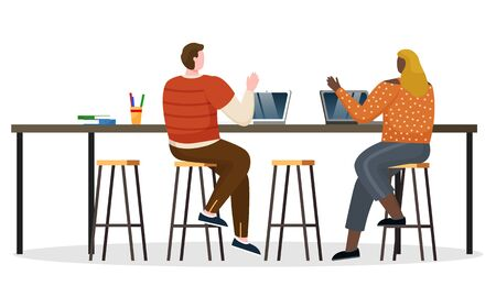 Woman and man greet each other, coworkers meet in open space. Office workers type on laptops together. People sit on high chair by table and work on computers. Vector illustration in flat style
