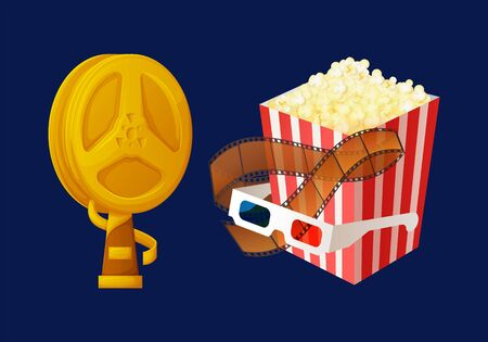 Award prize in shape of bobbin vector, movie trophy for producer and best actor flat style. Popcorn in package, glasses for 3d films watching cinema