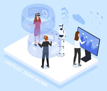 People testing innovative technologies. Man and woman interacting with help of cyberspace, talking to robot. Supervisor monitoring brain activities of humans. Lab experiment vector in isometric style