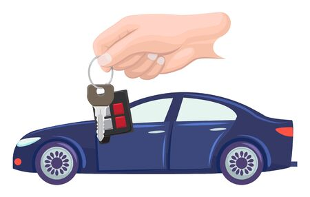 Car bought by character vector, hand with keys. Property transportation flat style. Automobile of modern type, owner with transport automotive sport. Buy new blue car. Flat cartoon